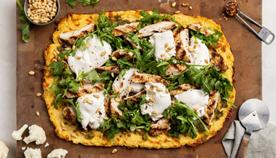 Pesto Chicken and Burrata on Cauliflower Flatbread