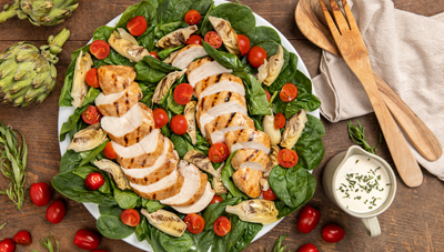 Grilled Chicken Spinach Salad with Artichoke Hearts and Creamy Tarragon Agave Vinaigrette
