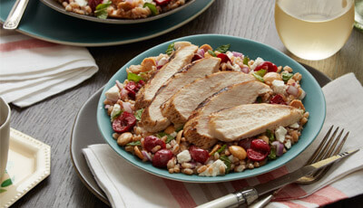 Farro Chicken Salad with Sundried Cherry and Marcona Almonds