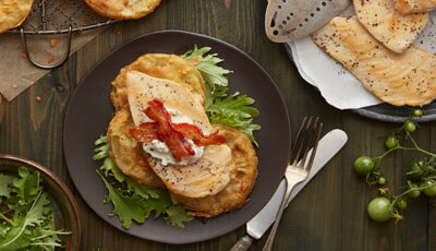 Fried Green Tomato Stack with Grilled Chicken and Lemon Ricotta