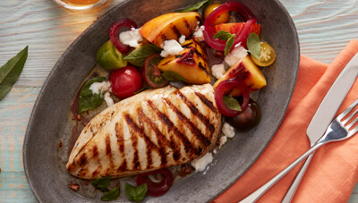 Grilled Chicken with Heirloom Tomato & Peach Salad