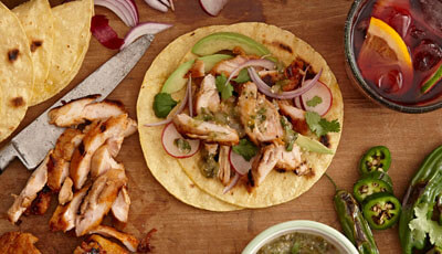 Roasted Tomatillo Salsa Verde Chicken Tacos