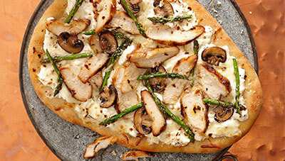 Grilled White Chicken Pizza with Asparagus and Mushrooms