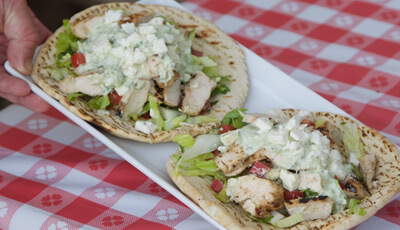 Grilled Chicken Gyro with Avocado Tzatziki Sauce