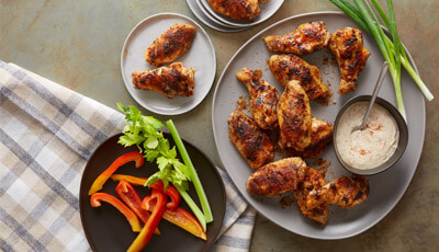 Hickory Smoke Spice Wings with Alabama White BBQ Sauce