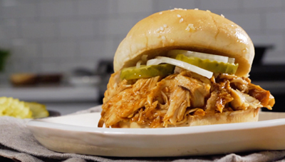 Instant Pot Bourbon BBQ Chicken Sandwiches