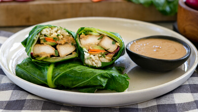 Miso Ginger Chicken Collard Wraps