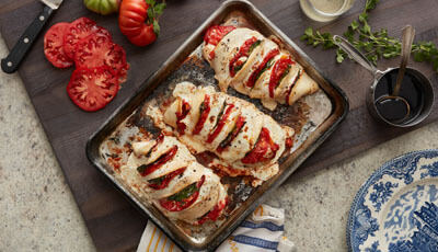 Roasted Chicken Heirloom Tomato Caprese