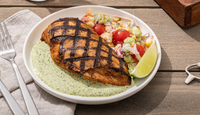 Peruvian Grilled Chicken with Green Sauce and Grilled Corn Salad