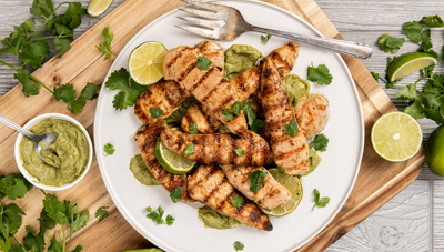 Tequila Lime Marinated Chicken Tenders with Avocado Butter