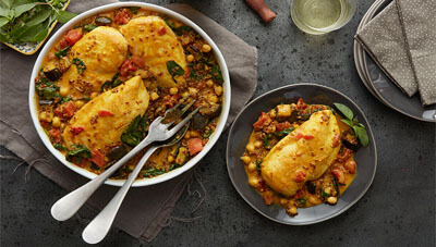 Turmeric Chicken Curry with Red Quinoa and Chickpeas