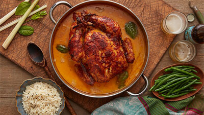 Thai Curry Roasted Chicken with Coconut Cream Sauce